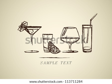 Hand drown Sketch. Set with different cocktails.