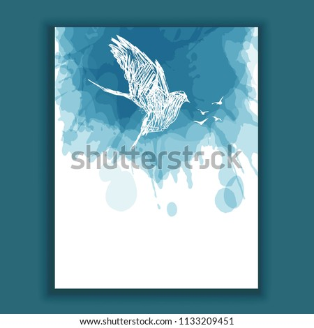 Hand drowning bird, watercolor splash background, dove, peace