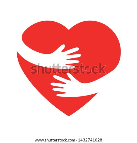 hand embracing red heartwith love vector illustrator, embracing love symbol