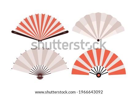Hand fan Chinese fold clipart icon. Japan held fan vector handfan Stockfoto ©