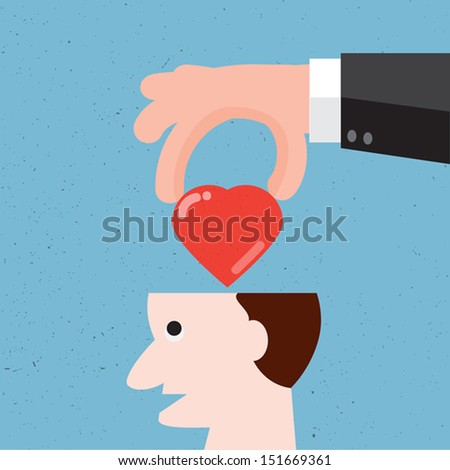 Hand fill hearts in open brain,Vector