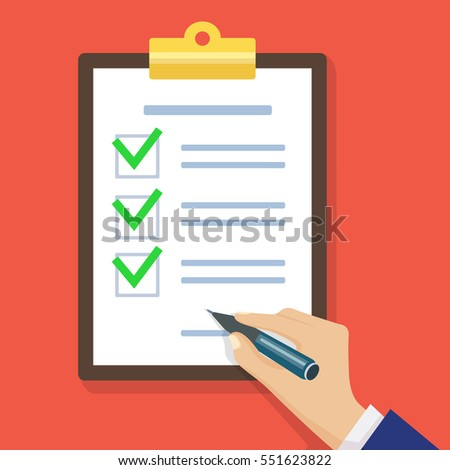 Hand filling checklist on clipboard. Form illustration with man signing a paper work document. Vector Modern flat design concept for web banners, web sites, printed materials, infographics.