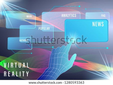 Hand, finger presses on Virtual screens on a abstract background. Smart Innovation technology internet business concept. Vector Illustration