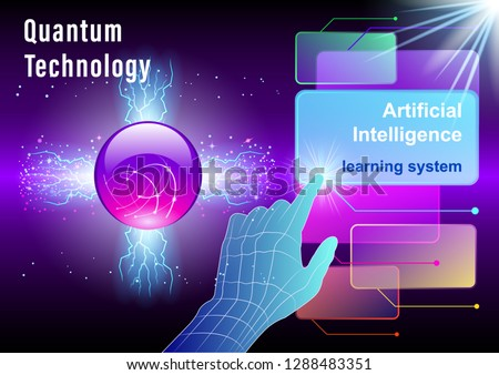 Hand, finger presses on Virtual screens on a cosmic, space background. Quantum technology, Ai, Smart Innovation technology internet business concept. Vector Illustration