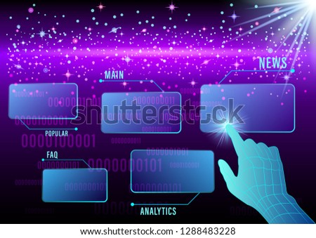 Hand, finger presses on Virtual screens on a cosmic, space background. Smart Innovation technology internet business concept. Vector Illustration