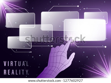 Hand, finger presses on Virtual screens on a starry sky background. Smart Innovation technology internet business concept. Vector Illustration