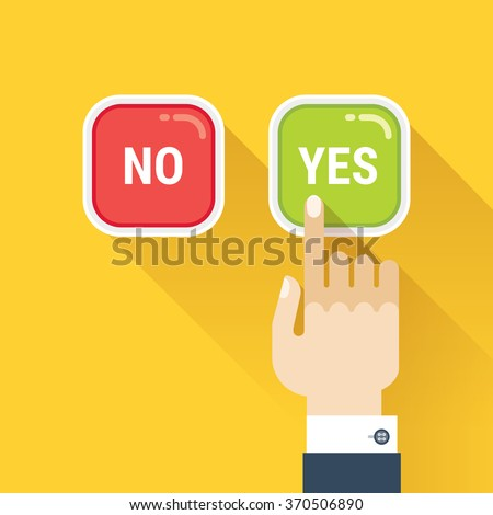 Hand, finger pressing buttons no or yes. Vector image isolated on yellow background.