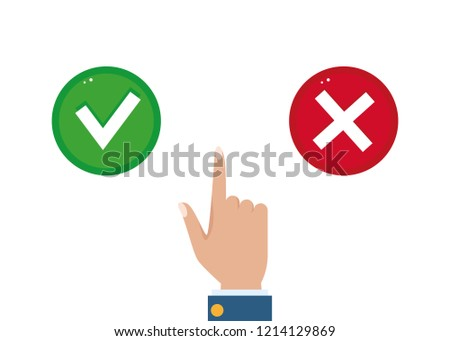 Hand, finger  pressing buttons true or false. Yes and No flat vector button, making a choice. The concept of choice.