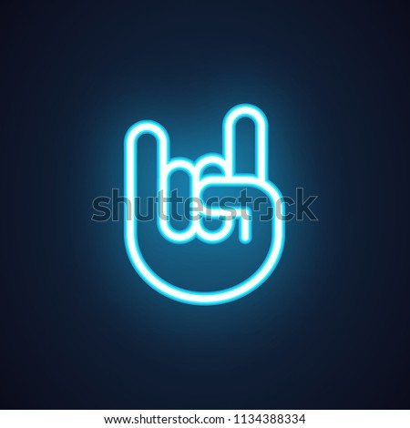Hand finger rock sign. Neon icon in linear style isolated on black. Music, concert, night club, festival concept symbol. Luminous element for advertising or button for mobile apps and sites.. Vector