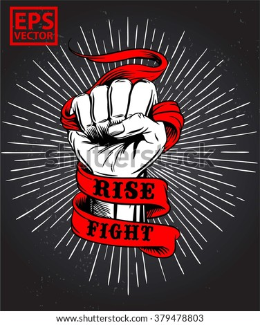 HAND FIST OLD RIBBON OR PRINT TEES AND BACKGROUND VECTOR