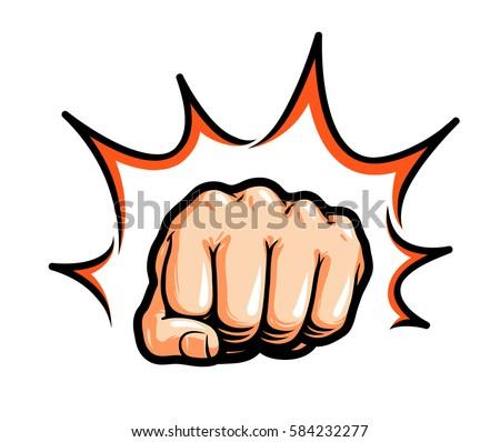 Hand, fist punching or hitting. Comic pop art, symbol. Vector illustration