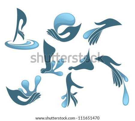 hand, foot and clean water, vector collection of cosmetic symbols and signs