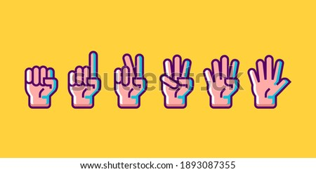 hand gesture count 1 2 3 4 and 5 vector icon illustration in trendy cartoon filled line style set Illustration, counting hand vector design in modern neon color Stock photo ©