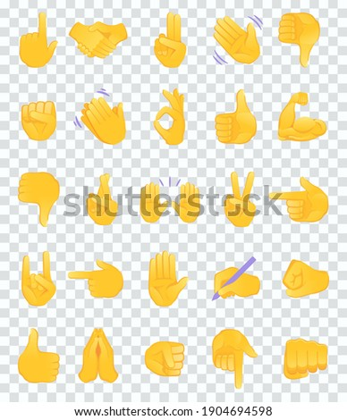 Hand gesture emojis icons collection. Set of different emoticon hands isolated on transparent background vector illustration.