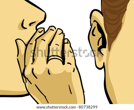 hand gesture of woman gossiping, vector drawing - stock vector