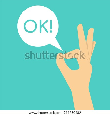 Hand gesture OK sign. Illustration in flat style