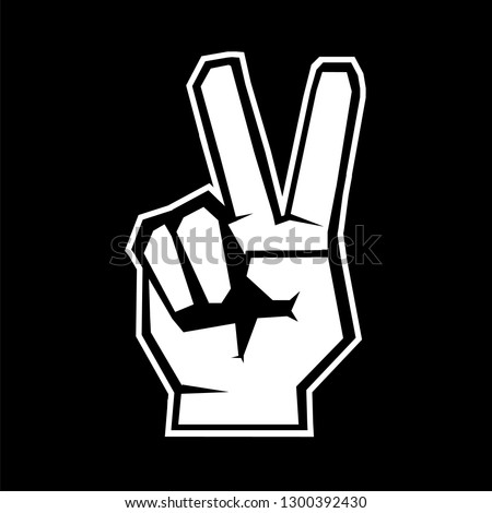 Hand gesture peace sign. Hand gesture V sign for victory or peace art vector icon.