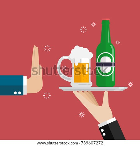 Hand gesture rejection a glass of beer. No alcohol