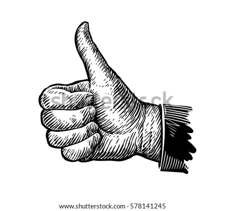Hand gesture, thumbs up, sketch. Vector illustration