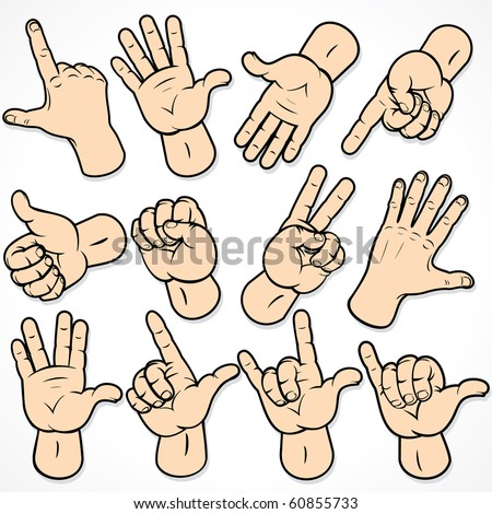 Hand Gestures and signals -set of vector icons for your design, MORE SIMILAR IMAGES AT MY GALLERY