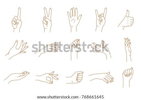 Hand gestures contour vector set
