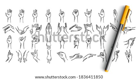 Hand gestures doodle set. Collection of hand drawn sketches templates patterns of pen pencil ink drawing human hands showing like ok rock signs or demosntrating palm fingers illustration. Photo stock ©