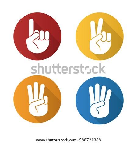 hand gestures flat design long