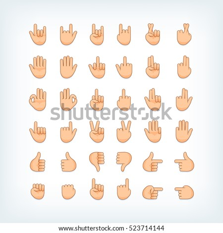 Hand gestures icons collection. Palm, fist, finger signs. Vector illustration.