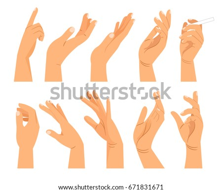 Hand gestures in different positions. Vector hands showing and pointing, holding and representing