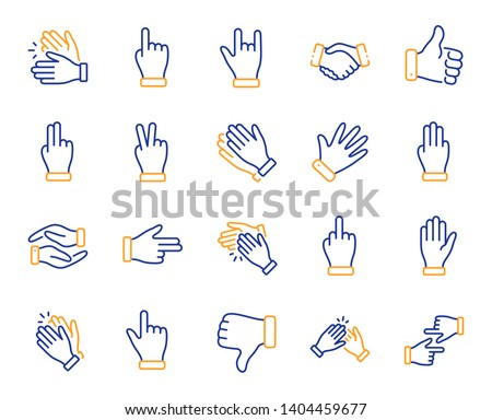 Hand gestures line icons. Handshake, Clapping hands, Victory. Horns, Thumb up finger, drag and drop icons. Donation hand gestures, middle finger, palm. Helping hand, ok sign. Vector
