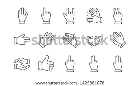 Hand gestures line icons. Handshake, Clapping hands, Victory. Horns, Thumb up finger, drag and drop icons. Donation hand gestures, middle finger, helping hand. Linear set. Vector