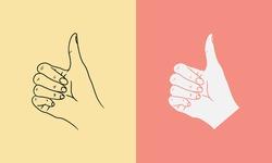 Hand gestures of ok finger symbol image illustration vector in outline for poster, backdrop element, banner shape. Eps 10