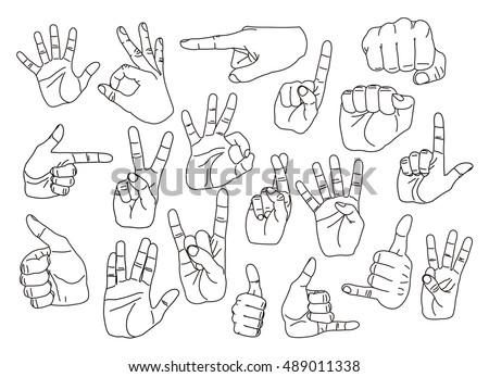 Hand gestures set #489011338