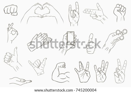 Hand gestures set. Collection of hand-drawn signs. Vector illustration.