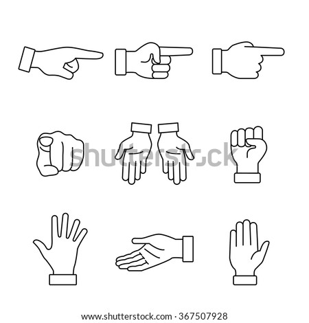 hand gestures signs set thin
