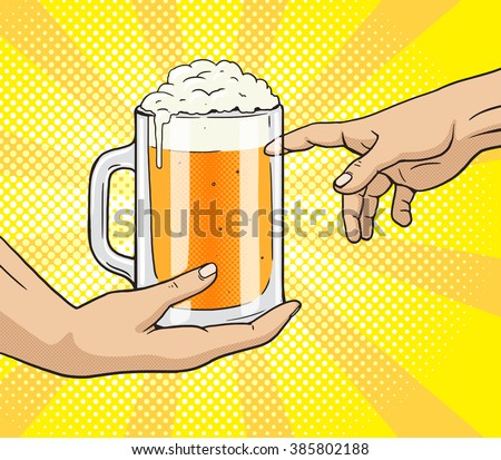 Hand gives a mug of beer to other hand pop art style vector illustration. Comic book style imitation. Classic art painting imitation. Funny image with toilet paper