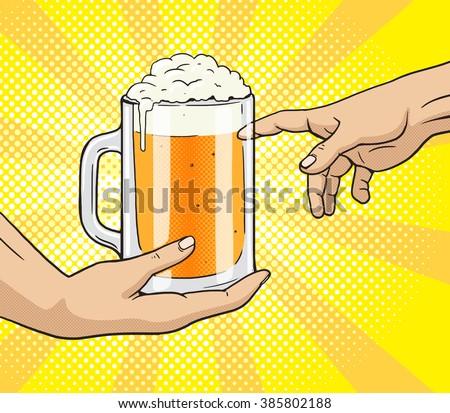 hand gives a mug of beer to