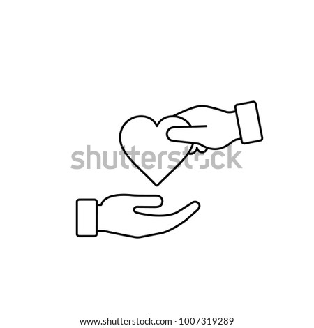 Hand gives heart line icon in flat style. Giving love concept, donate, health concept.