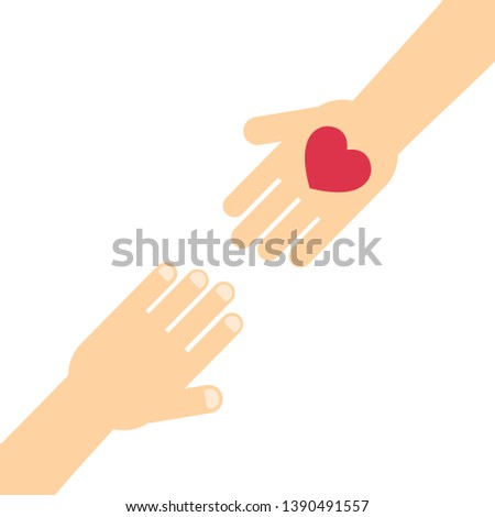 hand gives love to another. heart gift vector illustration eps10