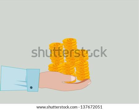 Hand Giving & Receiving Money - stock vector