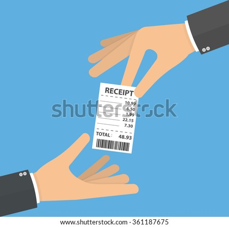 Hand giving and receiving receipt . Handing over and taking the receipt or asking for receipt concept. Flat design