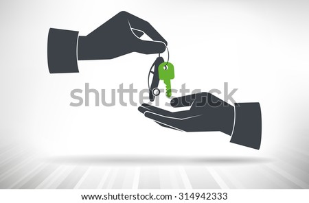 Hand giving car keys. Car key with small car as key ring given from one hand to another.