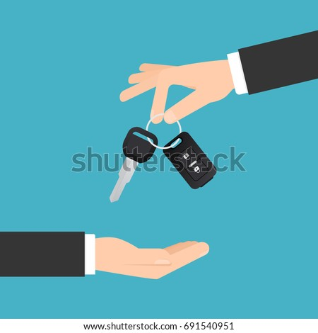 Hand giving car keys with chain. Car rental or sale concept in flat style. Vector illustration