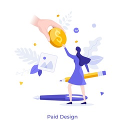 Hand giving dollar coin or paying money to woman holding pencil. Concept of paid design, earning or income of designer or artist, payment for art and creative work. Modern flat vector illustration.