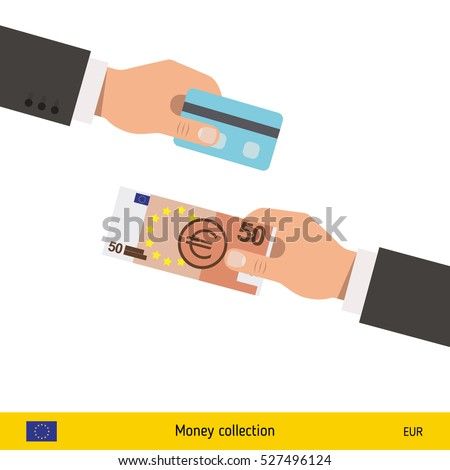 hand giving euro banknote and