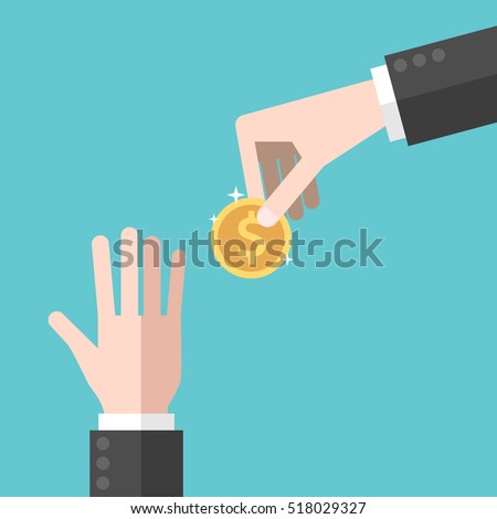hand giving gold dollar coin to