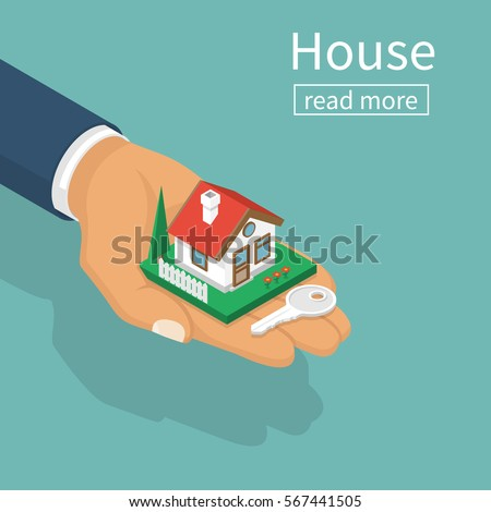 Hand giving house keys isometric design. Vector illustration flat style. Real estate agent handing holding in palm home and key. Template for sale, rent home.