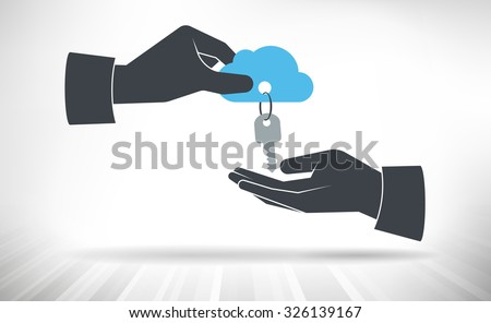 Hand giving keys to cloud. Concept of cloud access handed over from one person to another. ストックフォト ©
