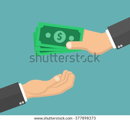 hand giving money bills to