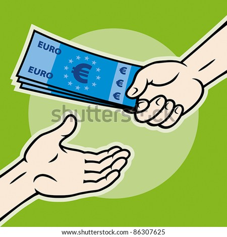 Hand, giving money (euro banknotes) to other hand, EPS 8, CMYK.